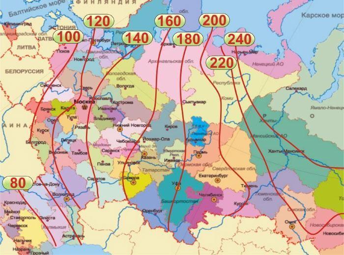 карта грубины промерзания грунта