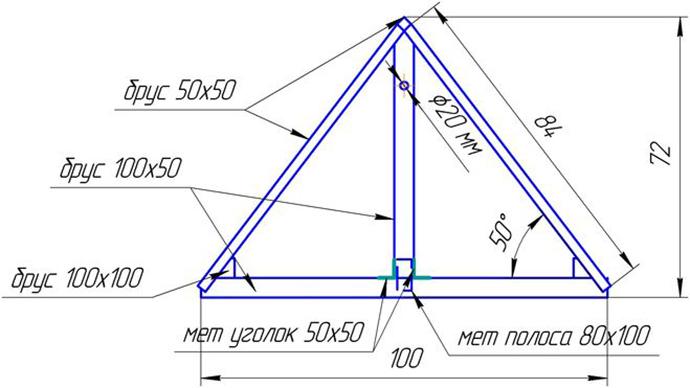 Чертеж четырехгранного домика с размерами